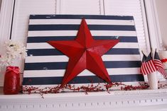 foam board from the dollar tree with a cereal box star and this would be a cheap and cool craft....I would do red and white stripes with a navy star though