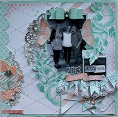 "Scrapfest 2013 - Scrapbook.com  A layout by Sarah Bargo using the beautiful line ""Mixed Company"" by Heidi Swapp!"