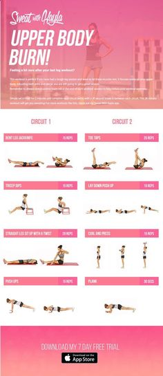 This came today in the email! Kayla Itsines Upper Body Burn 28-minute circuit workout.