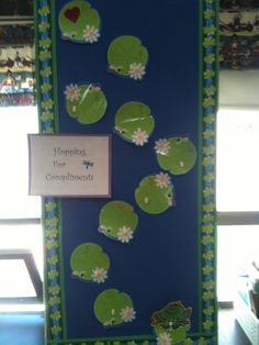 "The Compliment Frog lives in her pond on our classroom wall. Each time the class receives a compliment she hops up one Lily Pad, with a great big ""RIBBIT!"" When she reaches the top, they earn some kind of special treat. Maybe a movie with popcorn, make your own sundaes, a choice from the prize box or extra recess!"