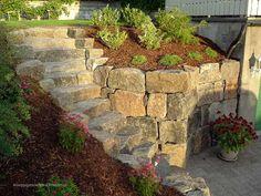Inspirasjon › Stein og mur i hage og park | Anleggsgartnerfirma Strandman AS Garden Bridge, Sidewalk, Outdoor Structures, Wall, Stones, Sidewalks, Pavement, Walkways