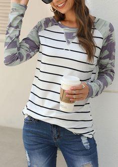 Fubotevic Womens Sweatshirt Long Sleeve Camo Print Leopard Print Pockets Round Neck Casual Top Blouse T-Shirt
