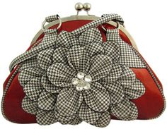 $22.95 Sparkling Houndstooth Flower Satchel with Kiss-Lock Closure