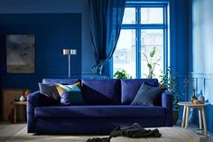 IKEA - FRIHETEN, Sofabed, Skiftebo blue, Easily converts into a bed. Blue Velvet Sofa Living Room, Living Room Sofa, Sofa Furniture, Pallet Furniture, Cheap Furniture, Office Furniture, Sofa Design, Ikea Friheten, 3 Seat Sofa Bed