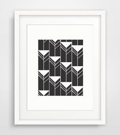 Aztec Wall Art, Black Tribal Print, Aztec Print, Black and White Triangle Printable Wall Art - Downloadable Print - Multiple Sizes