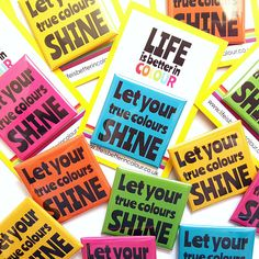 Square Badge True Colours Positive Quote Badge Cute and