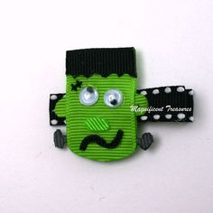 Frankenstein Monster Ribbon Sculpture Hair Clip or by Magnificence, $5.00