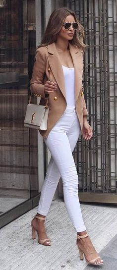 white and nude fashion trends / blazer + heels + bag + top + skinnies
