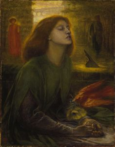 Dante Gabriel Rossetti Beata Beatrix, 1870 This is a portrait of Elizabeth Siddal posing as Beatrice from Dante Alighieri's poem Vita Nuova. The poem is about his unrequited love and mourning for Beatrice Portinari. Dante Gabriel Rossetti, Dante Alighieri, John Everett Millais, Elizabeth Siddal, Pre Raphaelite Paintings, Pre Raphaelite Brotherhood, Tate Gallery, Tate Britain, Victorian Art