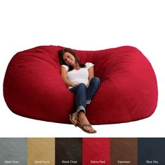 Relax in the comfortable FufSack bean bag chair available in a variety of colors that will complement your current decor. This bag has a blend of memory foam and polyurethane foam for proper support. The microsuede cover is durable and stain-resistant.