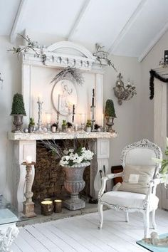 white...mantel, chair, ceiling...love it