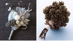 Pine Cone Boutonniere and Bouquet Vintage Winter Wedding ideas