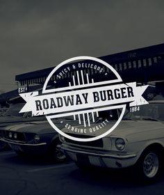"""Roadway Burger - Vintage Burger Restaurant Label/Badge"" Buy from - http://graphicriver.net/item/premium-quality-8-vintage-logo-badges/4975216?WT.ac=portfolio_1=portfolio_author=SAOStudio"
