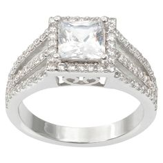 1 5/8 CT. T.W. Journee Collection Square Cut CZ Basket Set Split Bridal Ring in Brass - Silver