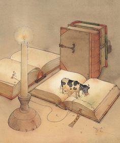 Bookish Cow - watercolour painting by Kestutis Kasparavicius