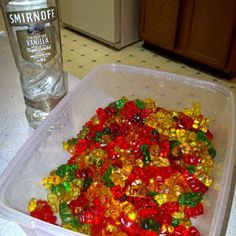 Drunk gummy bears! Vodka and gummies needed only.