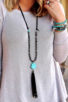 Long Suede tassel necklace with Spiderweb Jasper beads and a Turquoise Slab Focal