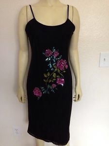 Newport News Black Dress M Sequince Beading Embroidery Floral Sheer Lined | eBay