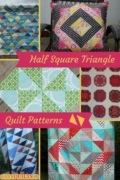 Make HST quilting patterns with these half square triangles block. HST quilting will be a breeze with these free quilt block patterns. Charm Pack Quilt Patterns, Quilt Block Patterns, Pattern Blocks, Quilt Blocks, Sewing Patterns, Half Square Triangle Quilts Pattern, Half Square Triangles, Square Patterns, Squares