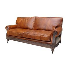 """80"""" Sofa Rococo Deconstructed Brown Leather Contemporary #Handmade #Contemporary"""