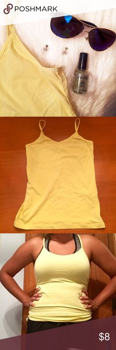 Forever 21 yellow cami NWOT, too small. Perfect to wear under a top, or as a workout top. Cut off tag because it was too uncomfortable! Ships within a 24hr period! Forever 21 Tops Camisoles