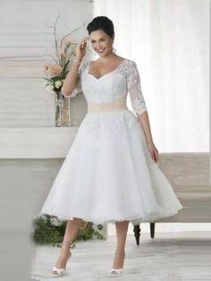 Chic Tea Length Wedding Dresses A-line Half Sleeve V neck Lace Wedding Dress AMY090