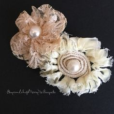 Shabby Chic Barrette - Fabric Flower Barrette. Dusty Rose and Cream barrette - pinned by pin4etsy.com