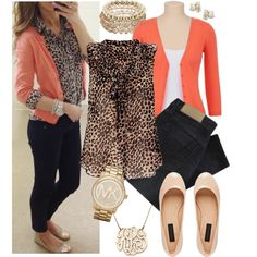 i love her outfit definitely will be on the hunt to find a long sleeve cheetah print button up and peach cardigan