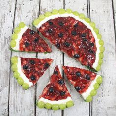 Watermelon Fruit Pizza--this looks like a fun summertime project with children or grandchildren!  (secret--contains no watermelon!)