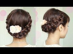 Crochet Stitch Braid Updo Hairstyle for Medium Long Hair Tutorial - Bebexo - YouTube