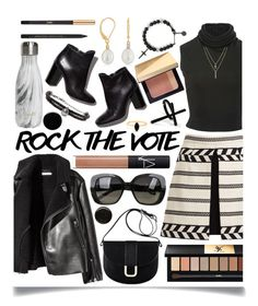 """Rock the Vote in Style"" by ittie-kittie ❤ liked on Polyvore featuring Alice + Olivia, Brandon Maxwell, Pierre Hardy, A.P.C., Emi Jewellery, Yves Saint Laurent, S'well, NARS Cosmetics, Bobbi Brown Cosmetics and Bottega Veneta"