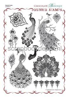 Chocolate Baroque A4 Unmounted stamp set Peacock Parade