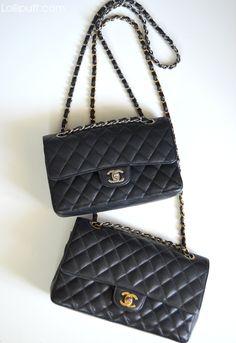 Chanel black caviar classic double flap bags silver and gold hardware Chanel Double Flap, Chanel Classic Flap, Classic Handbags, Luxury Bags, Small Bags, Chanel Bags, Chanel Handbags, Chanel Reissue, Image