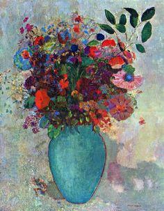 Odilon Redon Flowers in a Turquoise Vase Canvas Art Print – canvasartdealer Art Floral, Motif Floral, Odilon Redon, Art Moderne, Art Reproductions, Canvas Art Prints, Van Gogh, Flower Art, Art Drawings