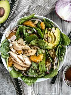 Chicken and Mandarin Salad boasts sweet mandarin oranges, creamy avocado, crunchy almonds, and homemade sesame dressing