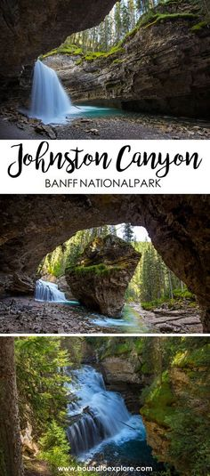 Johnston Canyon in Banff National Park should be on your bucket list. The waterfalls, beautiful scenery, and secret cave makes for endless photo opportunities and places to explore. Read about our adventure and how to get to the secret cave. Vacation Destinations, Vacation Spots, Vacations, Mini Vacation, Vacation Ideas, Vancouver Island, Johnston Canyon Banff, The Places Youll Go, Places To Go