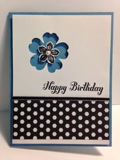 Flower Shop, Petite Petals, Negative Space Technique, Birthday Card, Stampin' Up!, Rubber Stamping, Handmade Cards