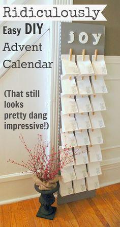 Super einfacher Adventskalender. Ich werde zwei bauen und die Namen der Kinder oben drüber schreiben