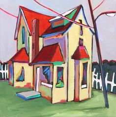 Daily Painting Dream House contemporary abstracted urban scene, painting by artist Carolee Clark
