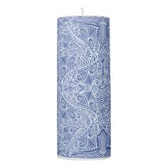 #Blue Elegant flow Pillar Candle - #candle #candles #special #custom
