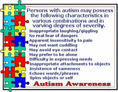 Symptoms of Autism. 1 or 2 symptoms don't always indicate a problem but if you know a child that has several characteristics it might be time to get them evaluated.