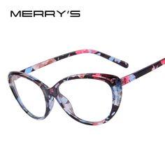 Merry'sファッション女性猫の目メガネプリントフレームキャットアイサングラスクリアメガネ