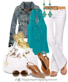 Cute outfit!  Turquoise top and jeans. Love the shoes and belt!!