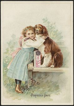 Girl and dog on ad