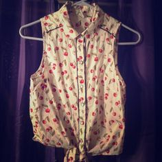 Button-up tank Cherry-print rockabilly button top. Perfect with some rolled up high-waisted jeans (; Tops Button Down Shirts
