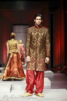 Shantanu Nikhil designer sherwani with patiala pants
