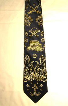 For Him // Pirate Printed Tie Neck Tie Gold on Black Men Mens Fathers Day Sailor Tattoo Tattoos Octopus Narwhal Squid Anchor. $18.50, via Etsy.