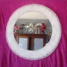 Miroir diamètre 50 décor en tulle fait main