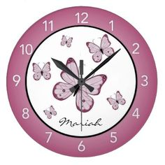 Pink Butterflies Personalized Wall Clock - decor gifts diy home & living cyo giftidea