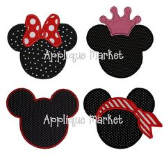 Machine Embroidery Applique Design Mouse Head Set - Bow, Crown, Pirate and Plain Embroidery Monogram, Machine Embroidery Applique, Applique Patterns, Disney Applique Designs, Embroidery Shop, Embroidery Ideas, Embroidery Thread, Applique Market, Sewing Crafts